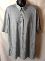 Greg Norman Mens Play Dry Polo Shirt Size XXXL Blue Stripe Short Sleeve Logo