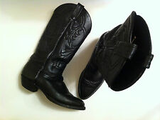 TONY LAMA BLACK LEATHER MADE IN USA BOOTS MAN 6,5 WOMAN 7,5