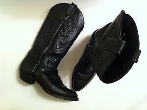 TONY LAMA BLACK LEATHER MADE IN USA BOOTS MEN'S 6,5  / WOMEN'S 7,5