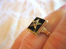 14k YELLOW GOLD ORDER OF THE EASTERN STAR ENAMEL BLACK ONYX JET GLASS DECO RING