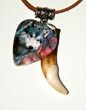 """GRAY WOLF Necklace & Real Coyote Tooth 28"""" Leather WOLF Pix on Pick Choker NEW!"""