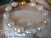 Armband Barock Echte Große Perlen 21cm Weiß mit Magnetverschluss