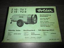 Holder Betriebsanleitung ET Liste Zapfwellen Anhänger Spritze Z10 TU7 Z15 TU8