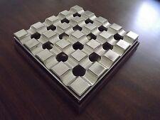 Aluminum Board Room Grid 16 Cigar Ashtray With Wood Base - Cligar Lounge Ashtray