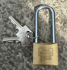 Burg Wachter Profi Long Shackle 40mm Brass Padlock - 116/40 - Made in Germany