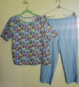 S7 Stan Herman 100% Cotton Floral Meadow Ankle Pant PJ Blue PL A391523