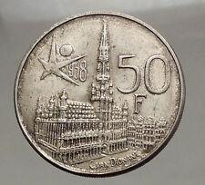 1958 BELGIUM - Silver 50 Francs Coin - BRUSSELS WORLD's FAIR 58 Baudouin i57142