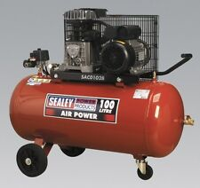 Sealey Compressor 100ltr Belt Drive 2hp With Cast Cylinders and Wheels SAC0102B