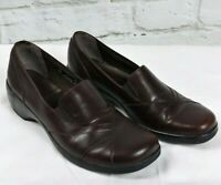 Clarks Womens Brown Shoe Size 9 M  Leather Slip On Loafer