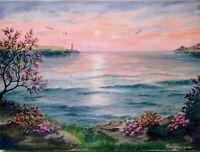 """Art16""""/12""""oil painting,seascape landscape,sunset,ocean view,"""