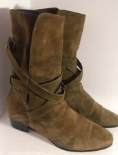 Authentic Vintage Ysl 7.5 Yves Saint Laurent Taupe Suede Booties Boots #1469