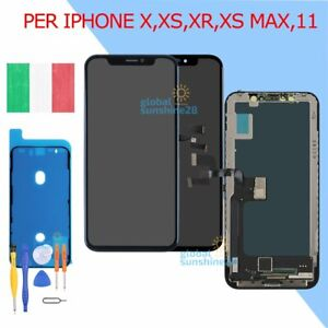 DISPLAY LCD SCHERMO OLED Per APPLE IPHONE X XS XR XS MAX 11 PRO TOUCH SCREEN 24H