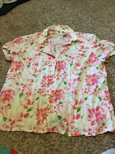 ST JOHNS BAY SIZE 2X BLOUSE TOP BUTTON FRONT FLOWERED PINK WHITE GREEN MIX CUTE!