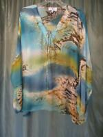 3X COUNTESS LUANNE SHINY GOLD STUDS BIG BLOUSE 3/4 SLEEVE POLYESTER MULTI-COLOR