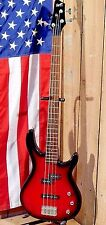 Fender Squier 4-String Bass Red / Black Burst Finish w / Hard Case!