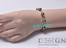 "7.5-8"" stunning AAA 10-9 mm Tahitian black green pearl bracelet 14k gold clasp"