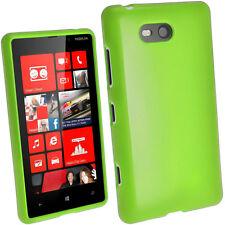 Grün Glänzend Tasche TPU für Nokia Lumia 820 Windows Kristall Gel Hülle