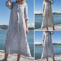 VONDA Womens Loose Stripes Dresses Casual Long Sleeve Collar Buttons Maxi Dress