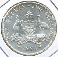 Australia 1934 Florin 2/- George V (Silver) - almost Uncirculated
