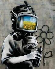 Banksy Gas Mask Boy graffiti street art on Canvas ACEO