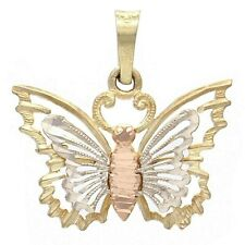 14k Tri Color Gold Solid Diamond-Cut Butterfly Charm Pendant 1.1g