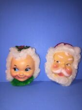 Vintage Santa & Mrs. Claus Head Refrigerator Magnets Plastic & Pipe Cleaners