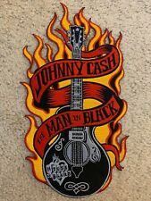 Retro Rockabilly Johnny Cash Man in Black Back Patch Flames Pre-Owned