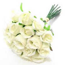 30CM  ARTIFICIAL SILK  IVORY ROSE BUNCH /  BUNDLE  18 FLOWER HEADS