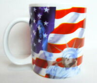 American Flag Coffee Mug Lady Liberty Red White and Blue