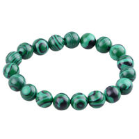1X Malachite Gemstone Gem Stone Round 10mm Beads Strand HOT M2K6