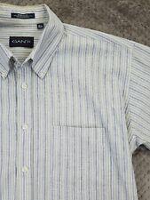 Gant Blue Striped Wrinkle Iron Free Cotton Shirt Button Dress Men's Sz 16 1/2 35