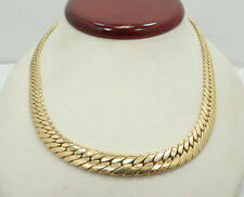 14K Rose Gold Herringbone Style 16.5 Inch Necklace 18.6g A3535