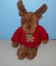 "Gund 18"" Ginger Moose Bean Stuffed Plush #1052 in Red Gingerbread Man Sweater"
