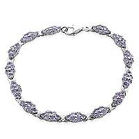 Natural AAA Tanzanite cluster  925 sterling silver Tennis Bracelet 7. 25 long