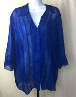 Maggie Barnes Plus Size 1X Top Blue Button Down Sheer Blouse Long Sleeve