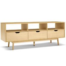 Artiss Wooden Scandinavian Entertainment Unit Natural 3 Drawer Storage Cabinet
