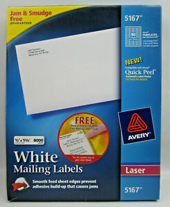 Avery 5167 White Mailing Labels 1/2 x 1 3/4 7120 on 89 Sheets PARTIALLY USED BOX