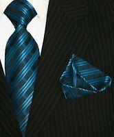 Krawatte Krawatten Set mit Einstecktuch Schlips Binder de Luxe 531 Petrol