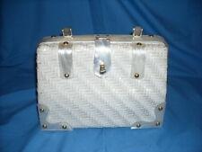 Vintage Simon Mr.Ernest White Woven Wicker Purse Handbag Mother of Pearl Lucite