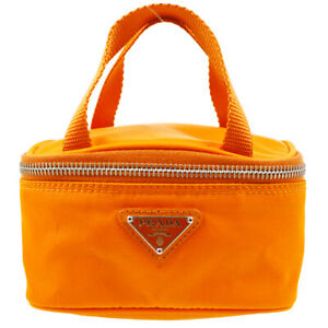 PRADA Mini Hand Bag Pouch #8 Purse Orange Nylon Vintage Italy Authentic 83545