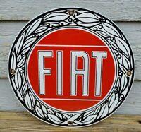 Vintage Fiat  Sales & Service Porcelain Metal Sign,  Gas Oil Pump Plate