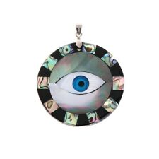 New Eye Pattern Patchwork Natural Abalone Shell Jewelry Round Necklace Pendant
