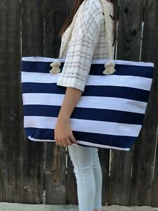 Extra Large Canvas Tote Bag-Beach Bag-Travel Picnic Gym Navi and White Stripes