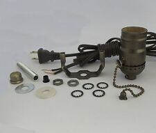"""Antique lamp kit: brn cord, off/on pull chain, 7"""" harp, neck TD-401PC"""