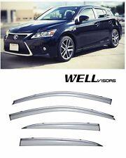 WellVisors Clip On Side Window Visors W/ Chrome Trim For 11-UP Lexus CT200H