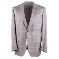 NWT $5850 BRIONI Light Brown Glen Check Cashmere and Silk Sport Coat 42 R