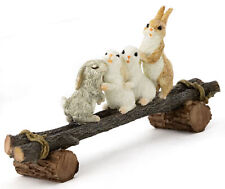 Miniature Dollhouse FAIRY GARDEN - Bunny Friends Playing on Plank - Accessories