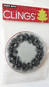 Pinecone Wreath Rubber Stamp Hero Arts Clings