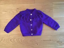 New Hand Knitted Girls Purple Cardigan Size 6-9 months