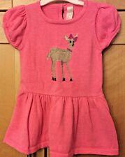 Cherokee Infant Baby Girl Bright Pink Winter Knit Sweater Dress w/Deer 12M